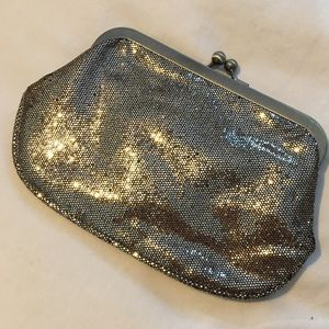 Express gold hand clutch with chain strap